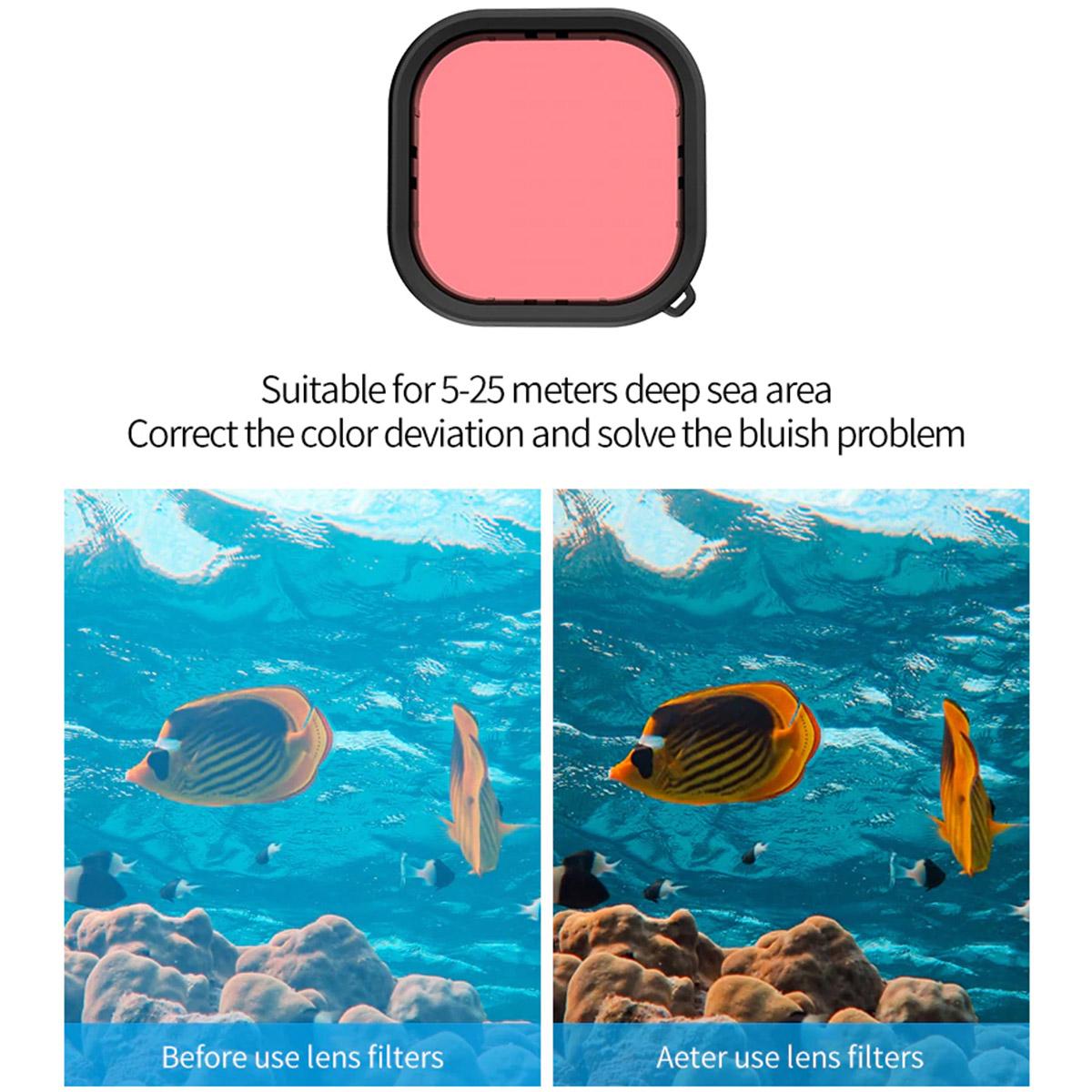 Filtro de Mergulho - Magenta Vermelho Laranja - GoPro Hero9 - Telesin