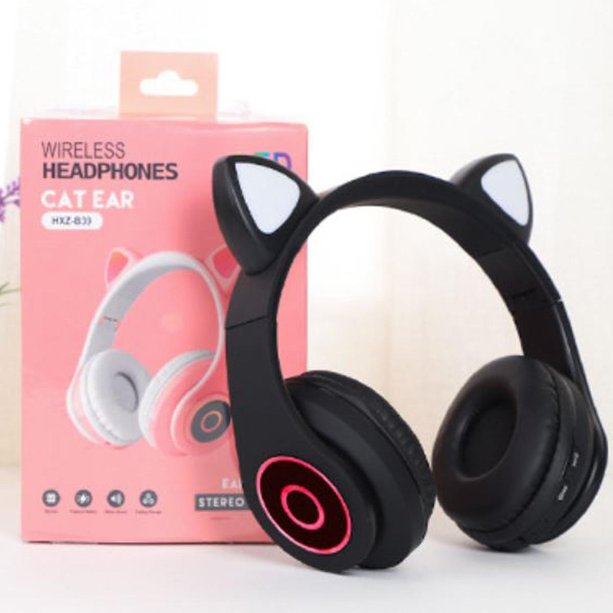 Fone de Ouvido Headphone Gato Gatinha Luzes Led Bluetooth