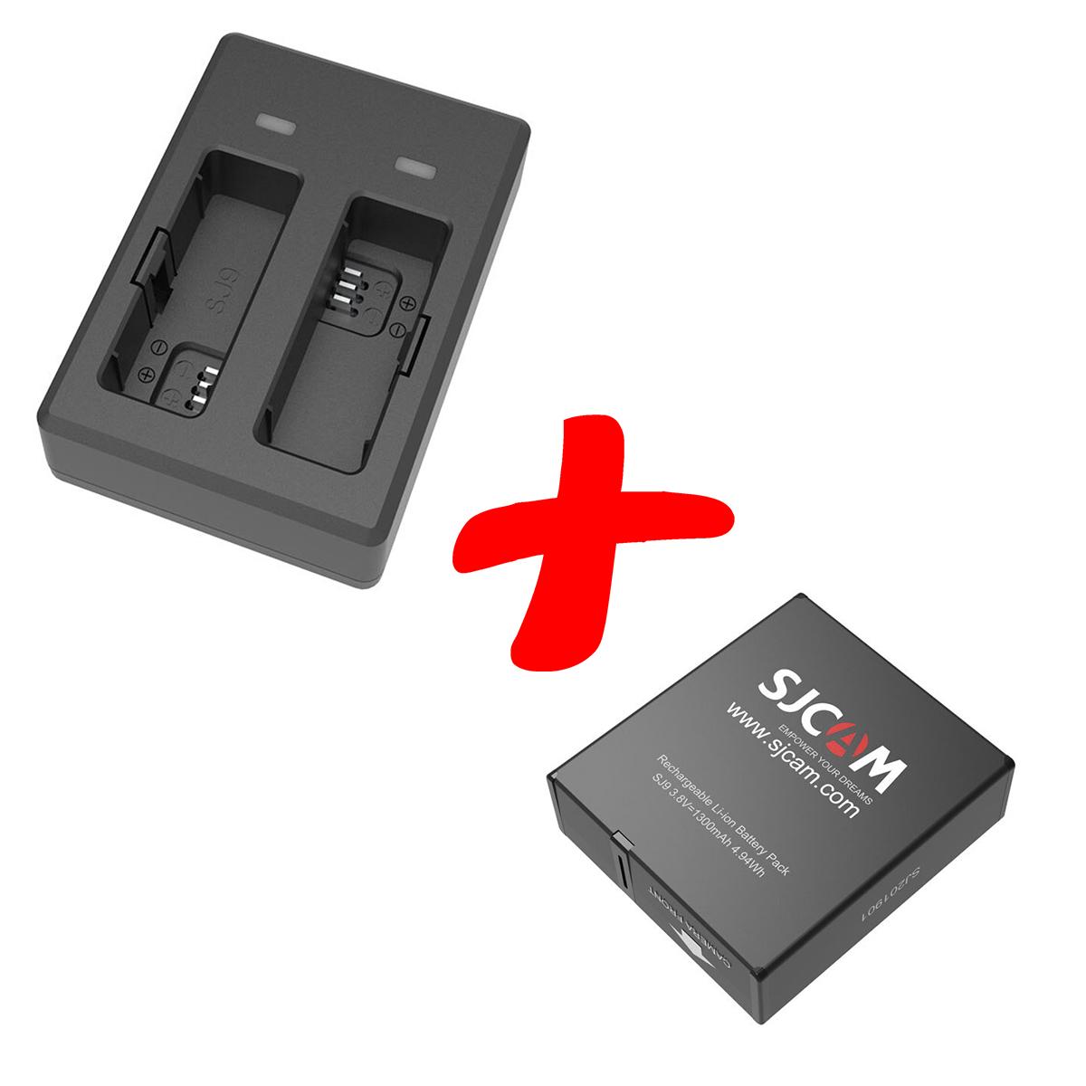 Kit Carregador Duplo com Uma Bateria - SJCAM SJ9 e SJ10