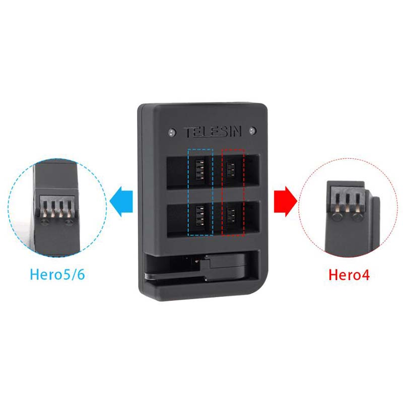 Kit Carregador Triplo com Duas Baterias - GoPro Hero7 Black - Telesin