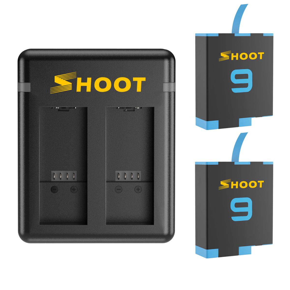 Kit com Carregador Duplo e Duas Baterias para GoPro Hero9 e Hero10 Black