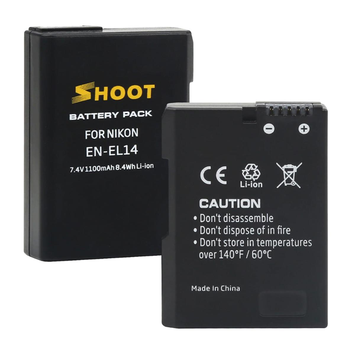 Kit com Carregador Duplo e Duas Baterias - EN-EL14