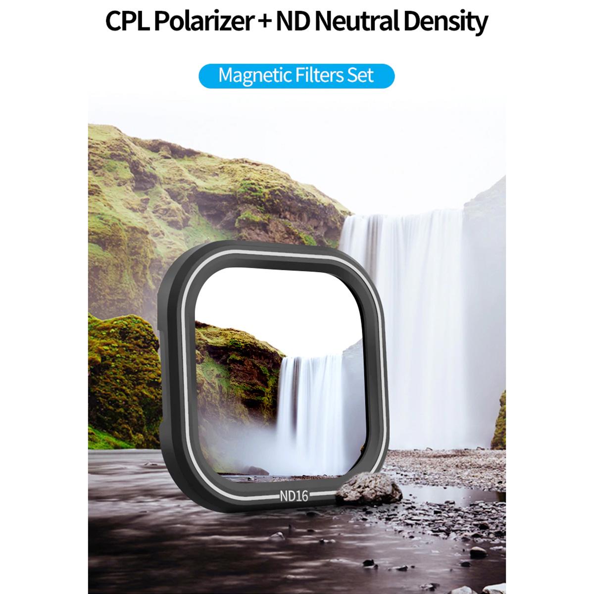 Kit de Filtros CPL ND8 ND16 ND32 para GoPro Hero8 Black - Telesin
