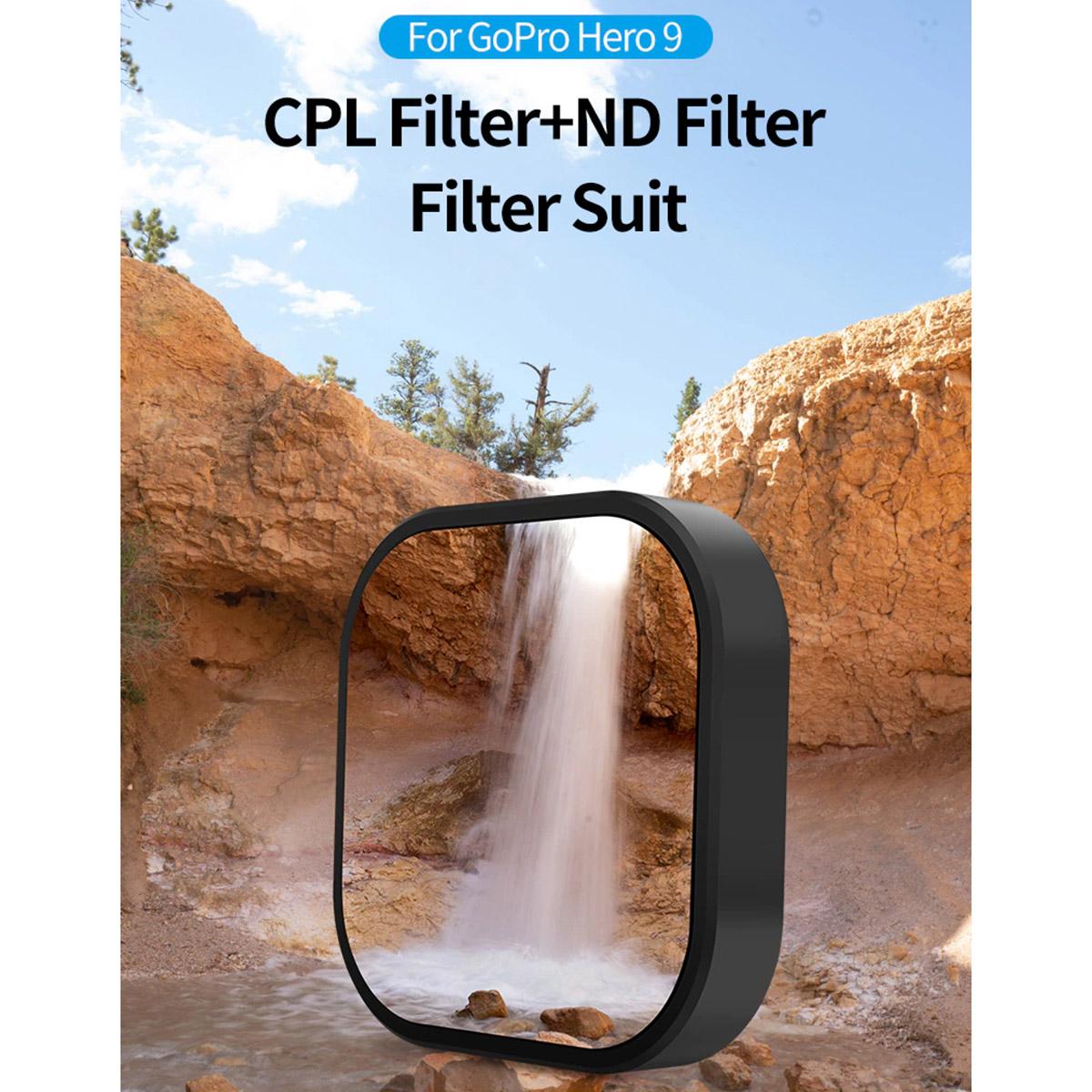 Kit de Filtros CPL ND8 ND16 ND32 para GoPro Hero9 e Hero10 Black - Telesin