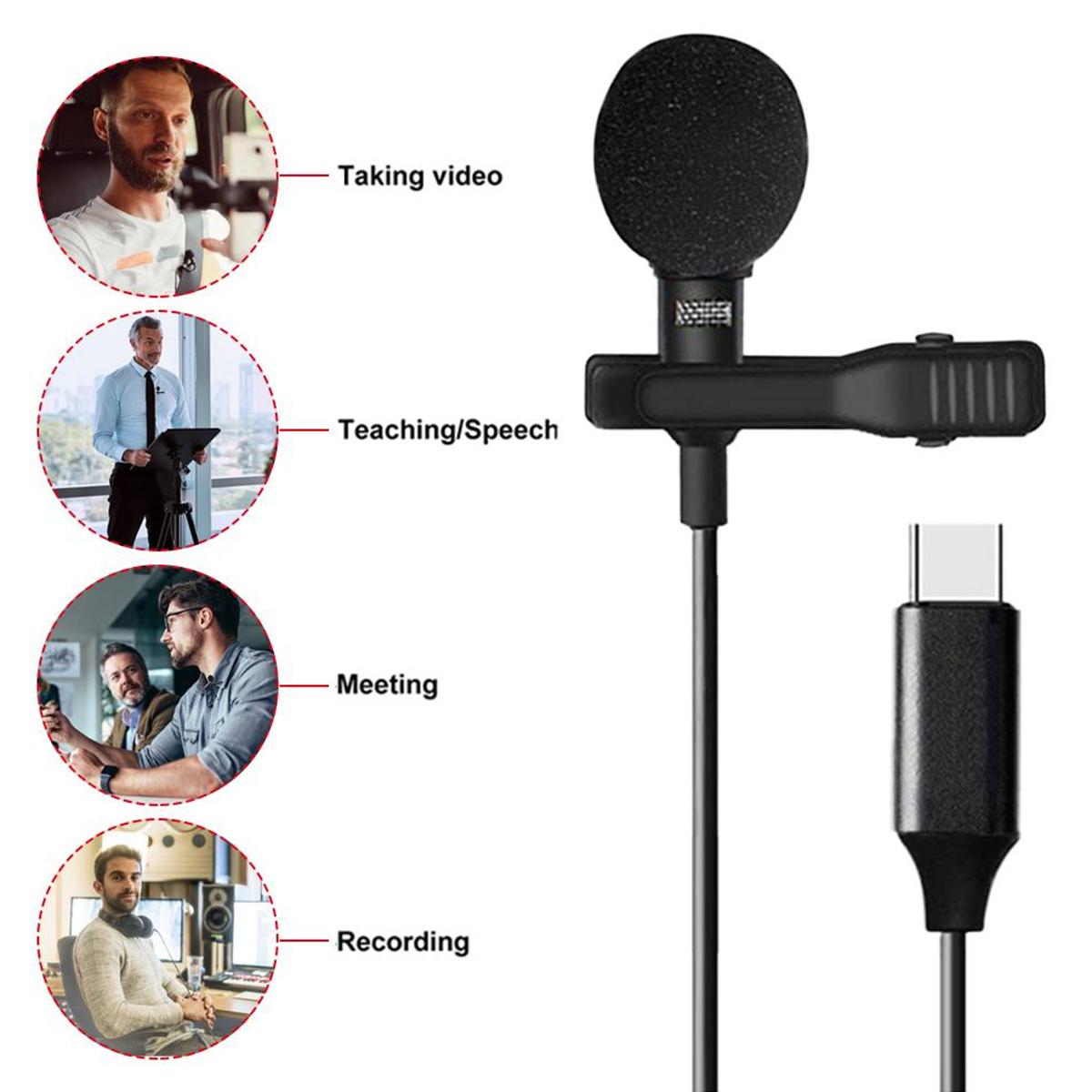 Microfone de Lapela - Tipo C - Smartphone Câmera Filmadora