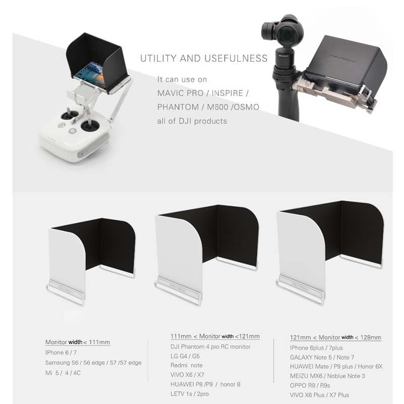 Protetor de Sol para Controle Drone - Monitor Sun Hood  - 121mm