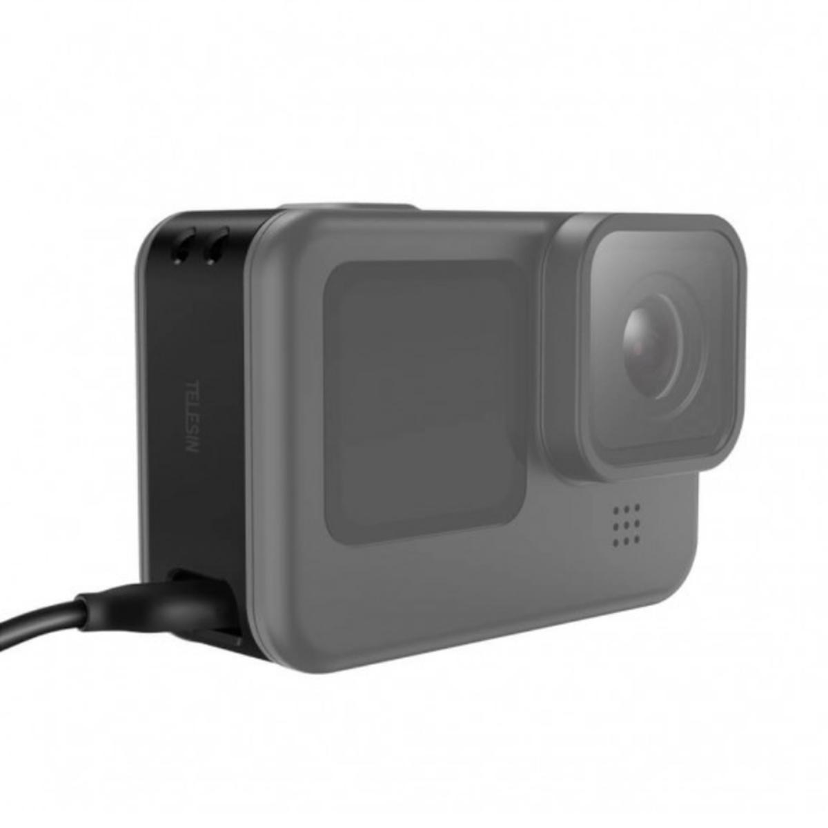 Tampa Lateral para GoPro Hero9 Black com Abertura pra Carregamento - Telesin