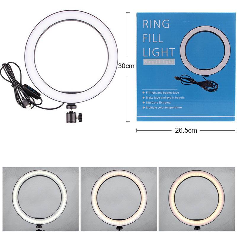 Ring Light Iluminador com Tripé de 160cm e Suporte de Celular - 26cm