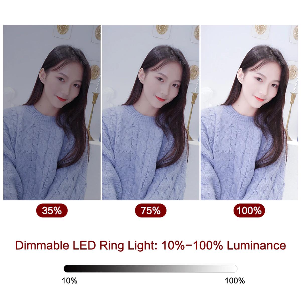 Ring Light Iluminador com Tripé de Mesa, Suporte de Celular e Controle Bluetooth - 26cm
