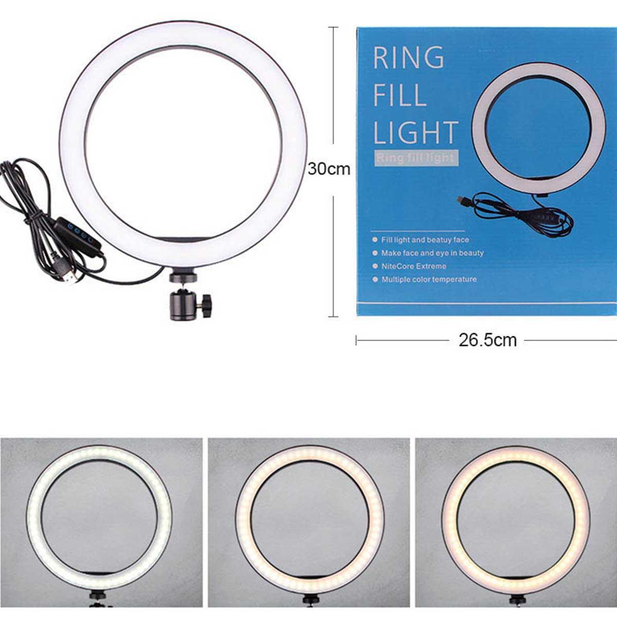 Ring Light Iluminador com Tripé de Mesa e Suporte de Celular- 26cm