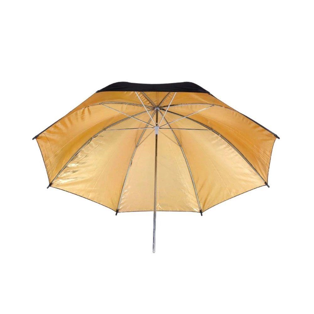 Sombrinha Refletora Rebatedora Fotografia DSLR - Preta Dourada - 90 cm