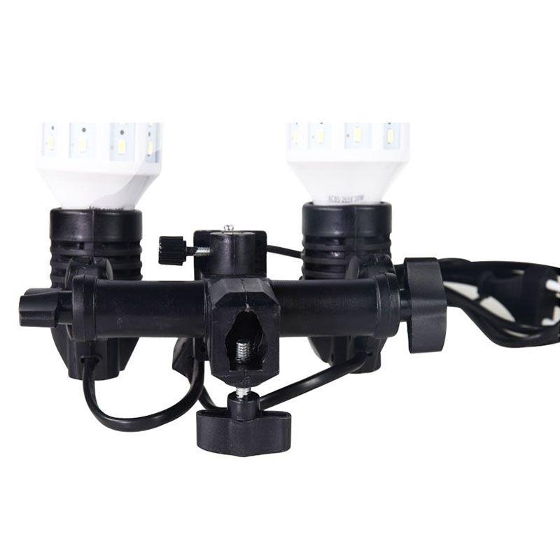 Soquete Duplo para Lâmpada Fotográfica DSLR - E27 Flash Estúdio