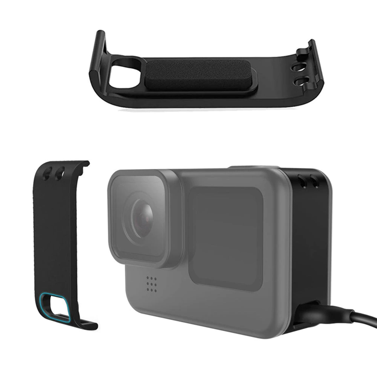 Tampa Lateral para GoPro Hero9 Black com Abertura pra Carregamento - Shoot
