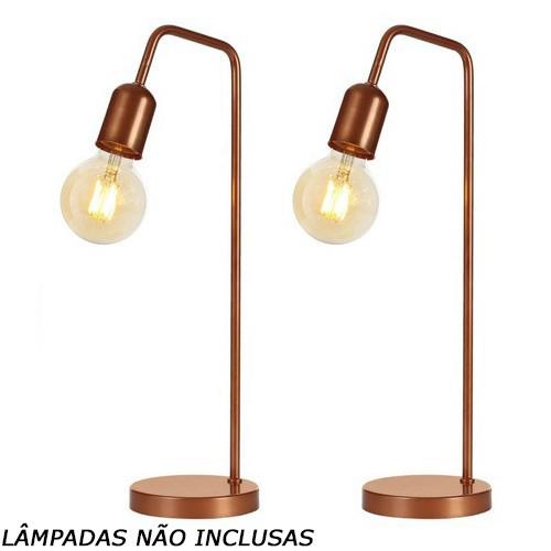 Kit 2 Luminárias De Mesa Cabeceira Abajur Retrô Vintage