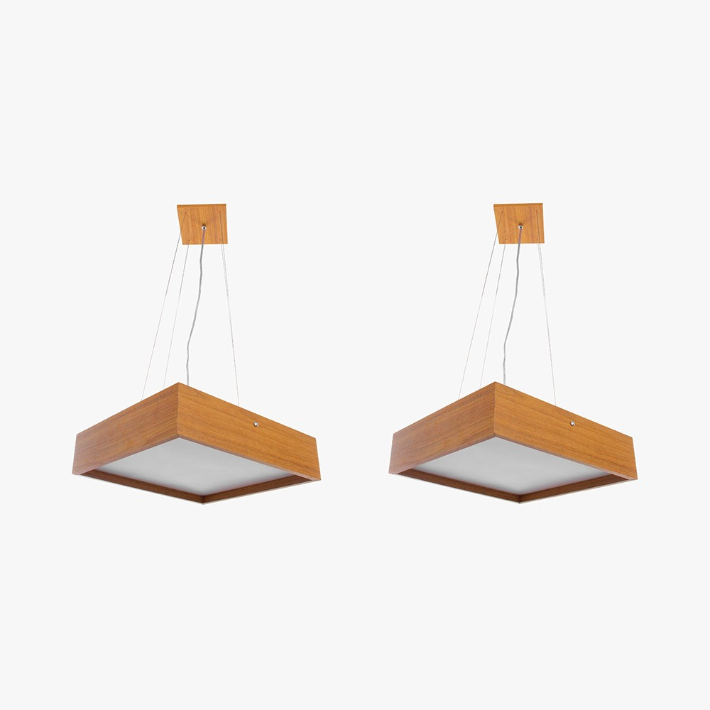 Kit 2 Pendente Quadrado Madeira 50x05  4 Luzes