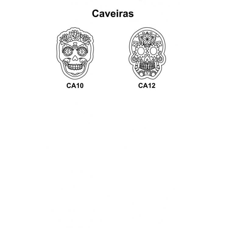 Kit 3 Peças Caveira Mexicana em Mdf Cru 30xh42cm para Pintar