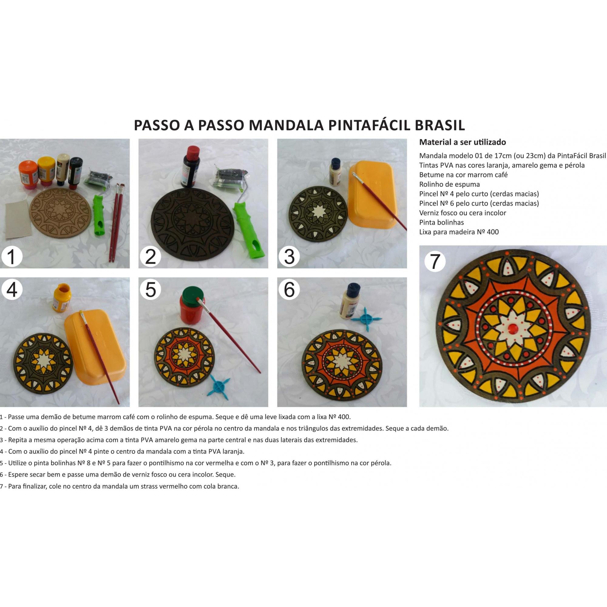 Kit 3 peças Mandala Mdf Cru 23cm de Diâmetro para Pintar