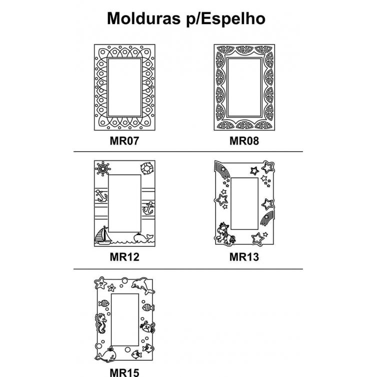 Kit 3 peças Moldura para Espelho em Mdf Cru 41xh58cm para Pintar