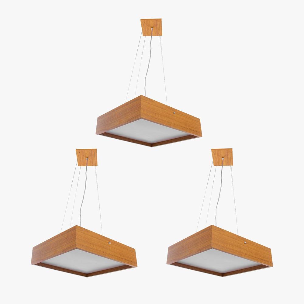 Kit 3 Pendente Quadrado Madeira 30x30 2 Luzes