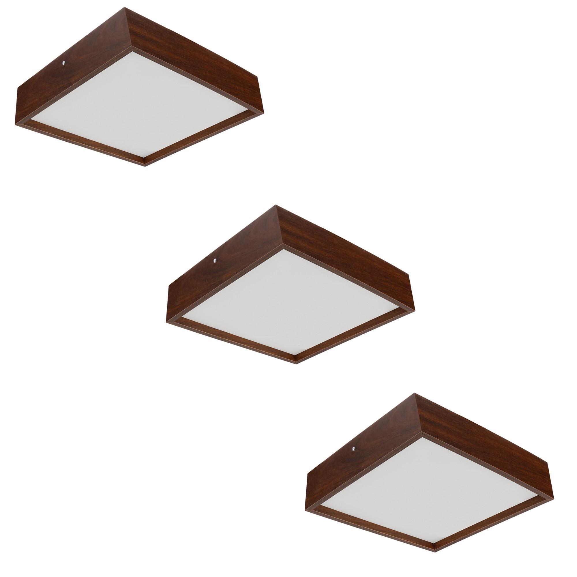 Kit 3 Plafons Luminária Quadrado Madeira 30cm