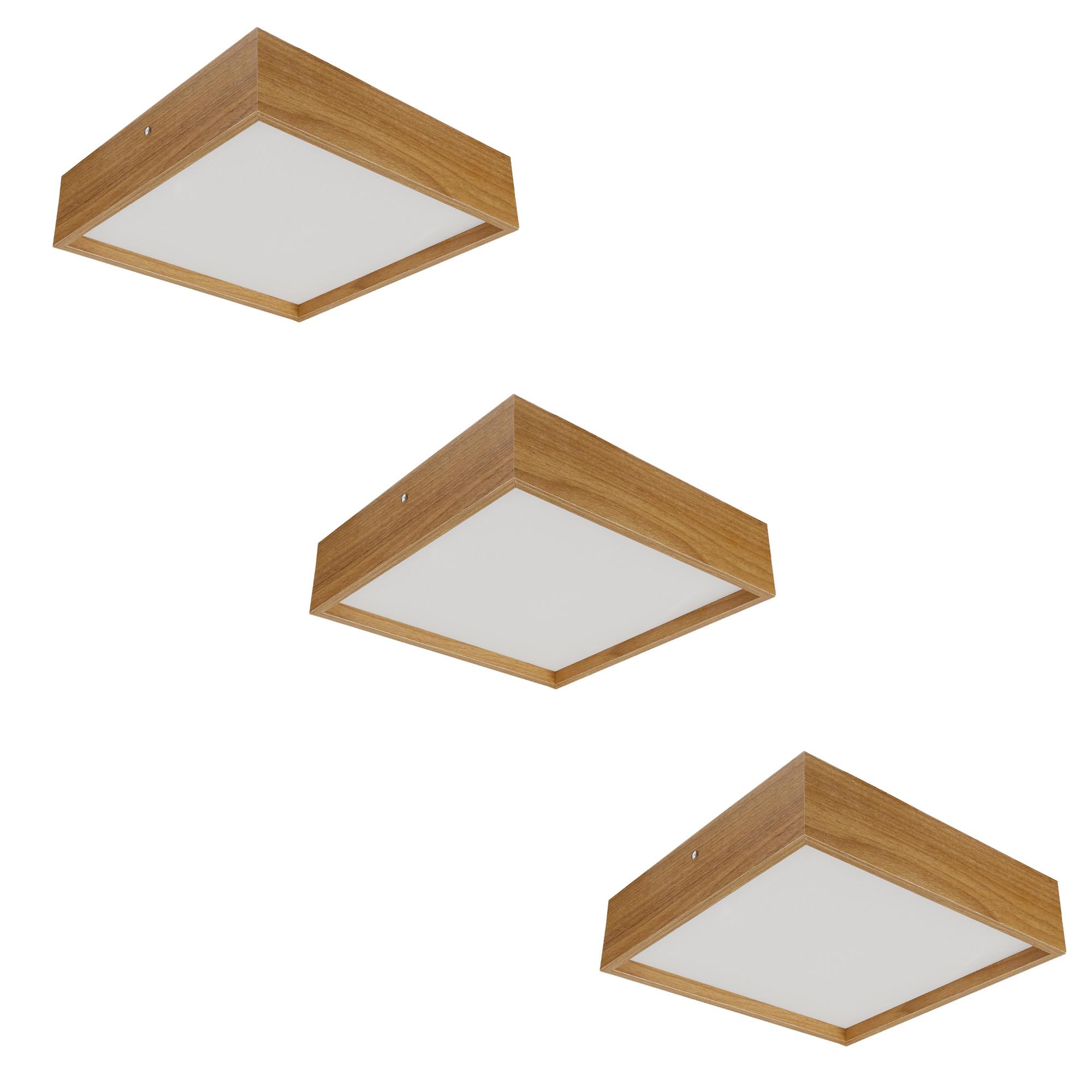 Kit 3 Plafons Luminária Quadrado Madeira 50cm Freijó