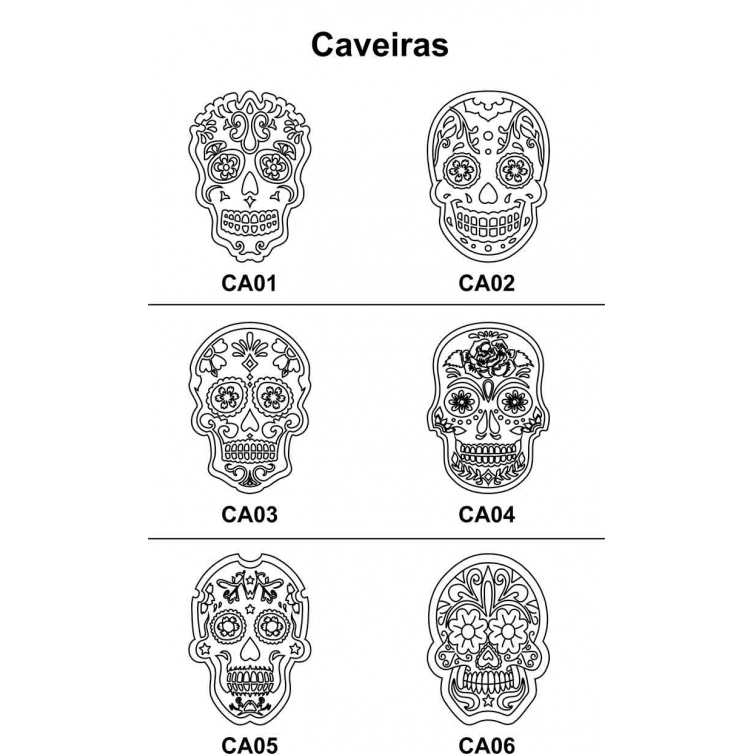 Kit 4 Peças Caveira Mexicana em Mdf Cru 30xh42cm para Pintar