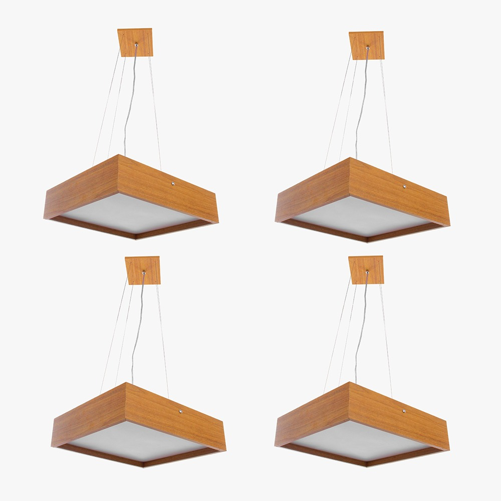 Kit 4 Pendente Quadrado Madeira 50x50 4 Luzes