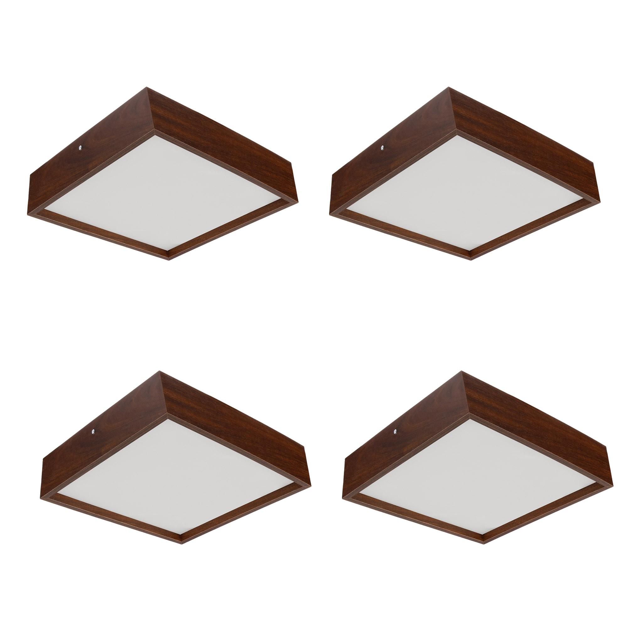 Kit 4 Plafons Luminária Quadrado Madeira 30cm