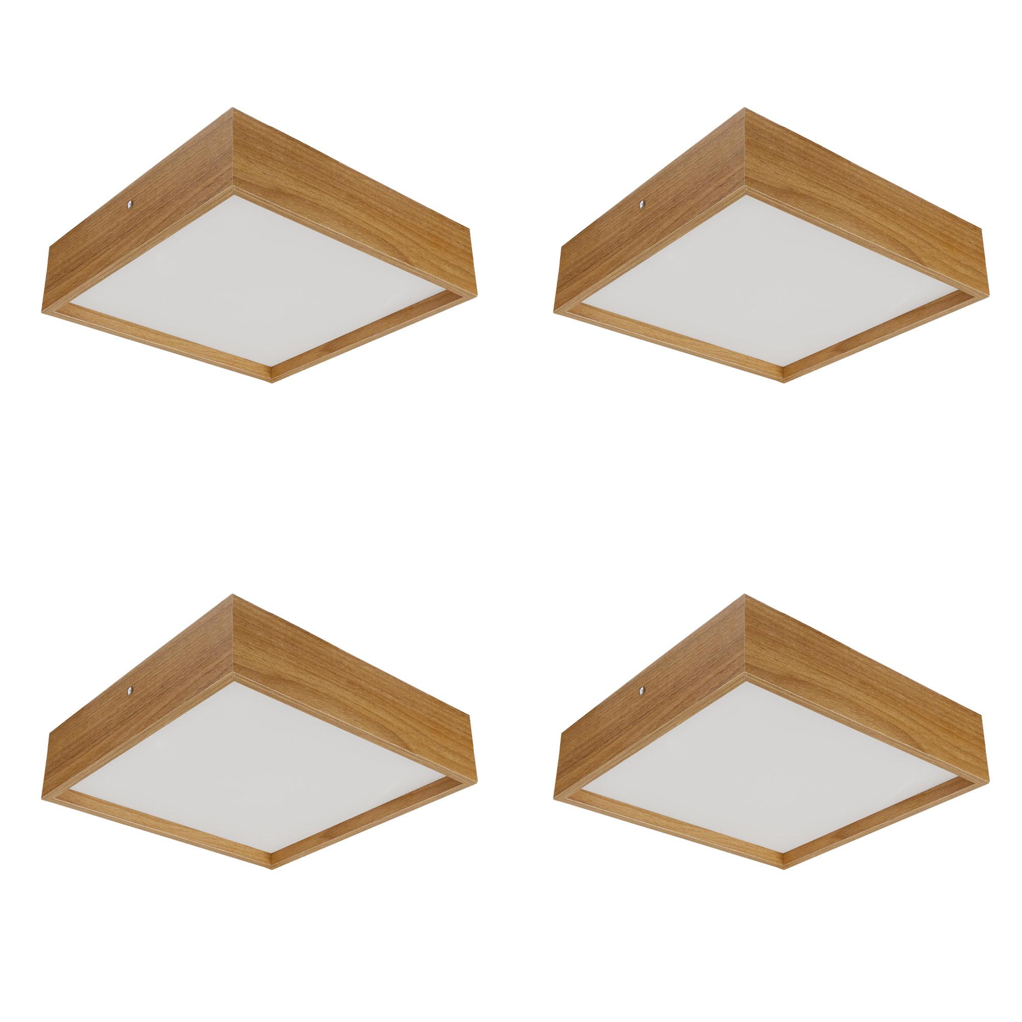 Kit 4 Plafons Luminária Quadrado Madeira 50cm Freijó