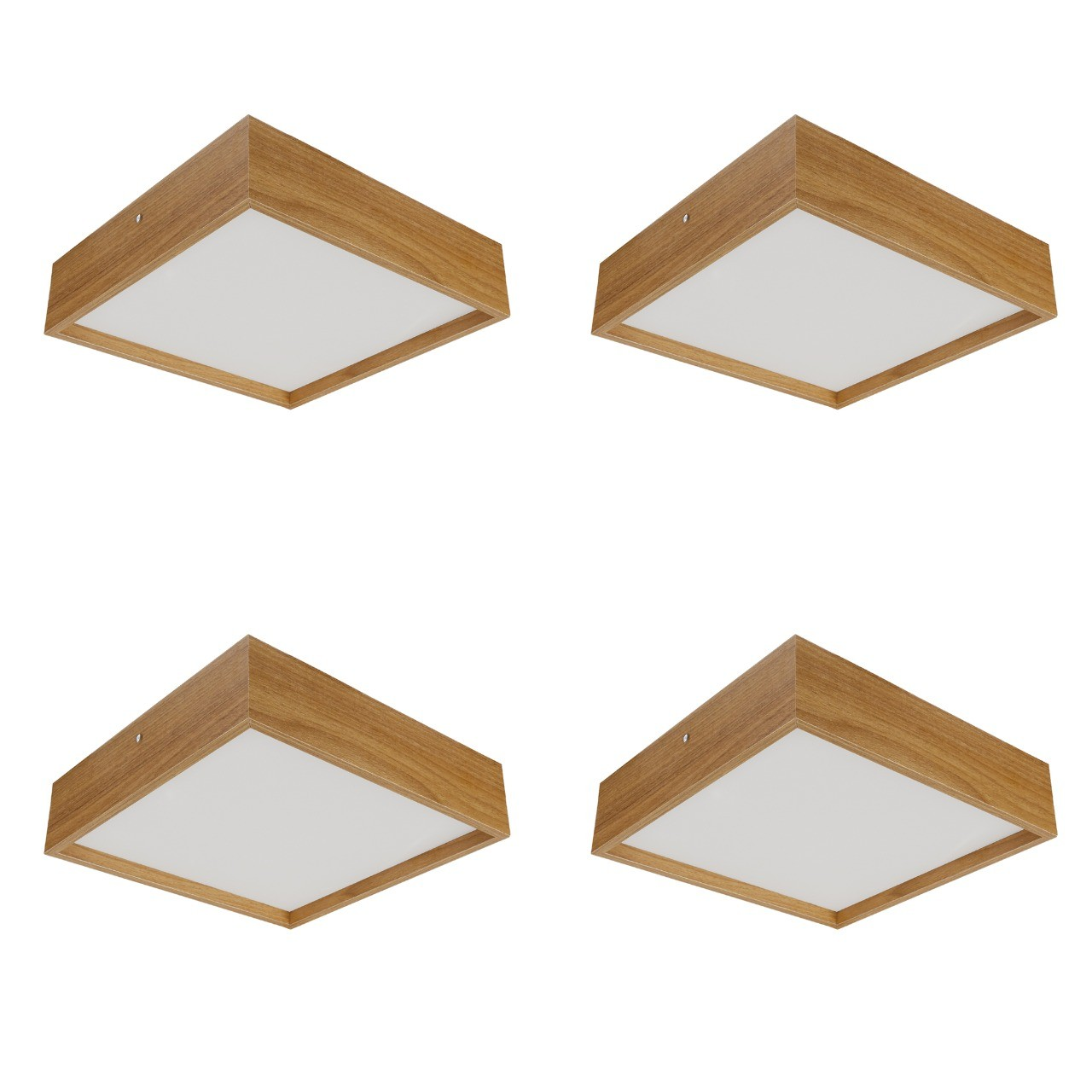 Kit 4 Plafons Quadrado Madeira 30X30 2 Luzes Freijó