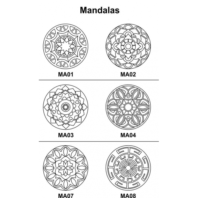 Kit 5 peças Mandala Mdf Cru 53cm de Diâmetro para Pintar
