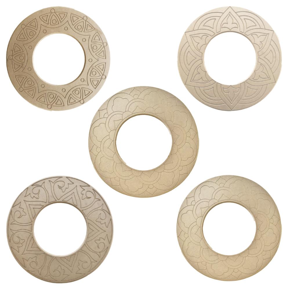 Kit 5 peças Mandala para Espelho Mdf Cru 53cm de Diâmetro para Pintar