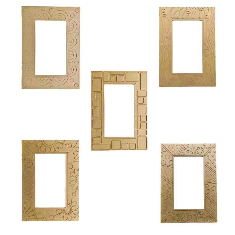 Kit 5 peças Moldura para Espelho em Mdf Cru 41xh58cm para Pintar