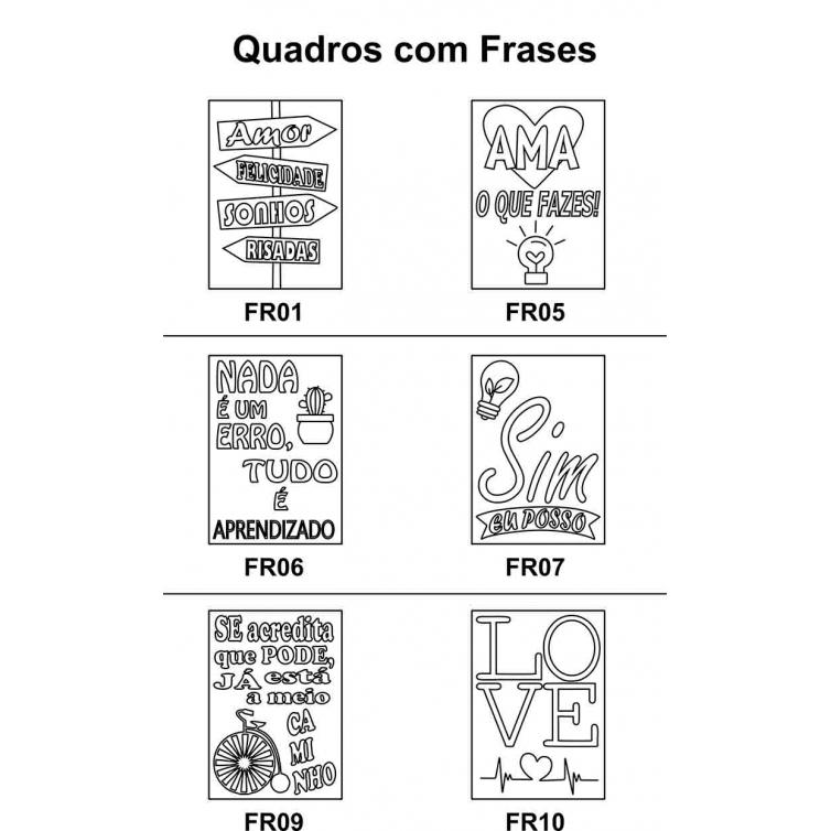 Kit 5 Peças Quadro Frases em Mdf Cru 21xh30cm para Pintar