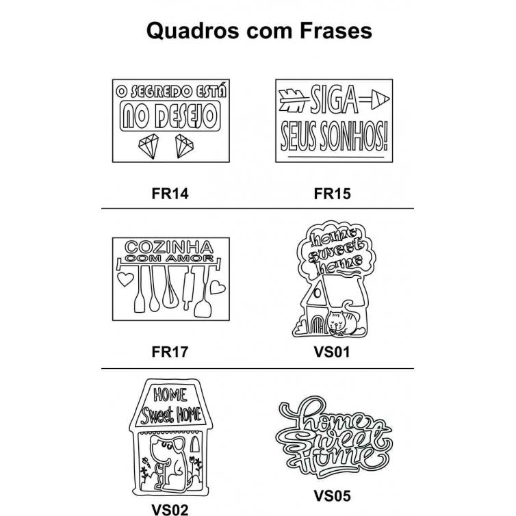 Kit 5 Peças Quadro Frases em Mdf Cru 30xh42cm para Pintar