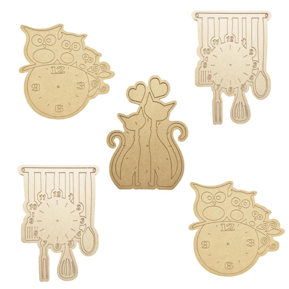 Kit 5 peças Relógio em Mdf Cru 30xh30cm para Pintar
