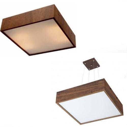 Kit Plafon Madeira Quadrado 50cm + Pendente Quadrado 50cm