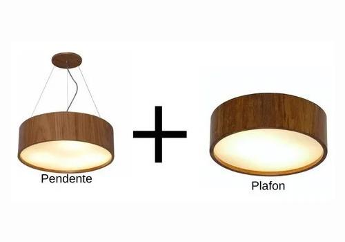 Kit Plafon + Pendente De Madeira Redondo 50cm Cor Imbuia