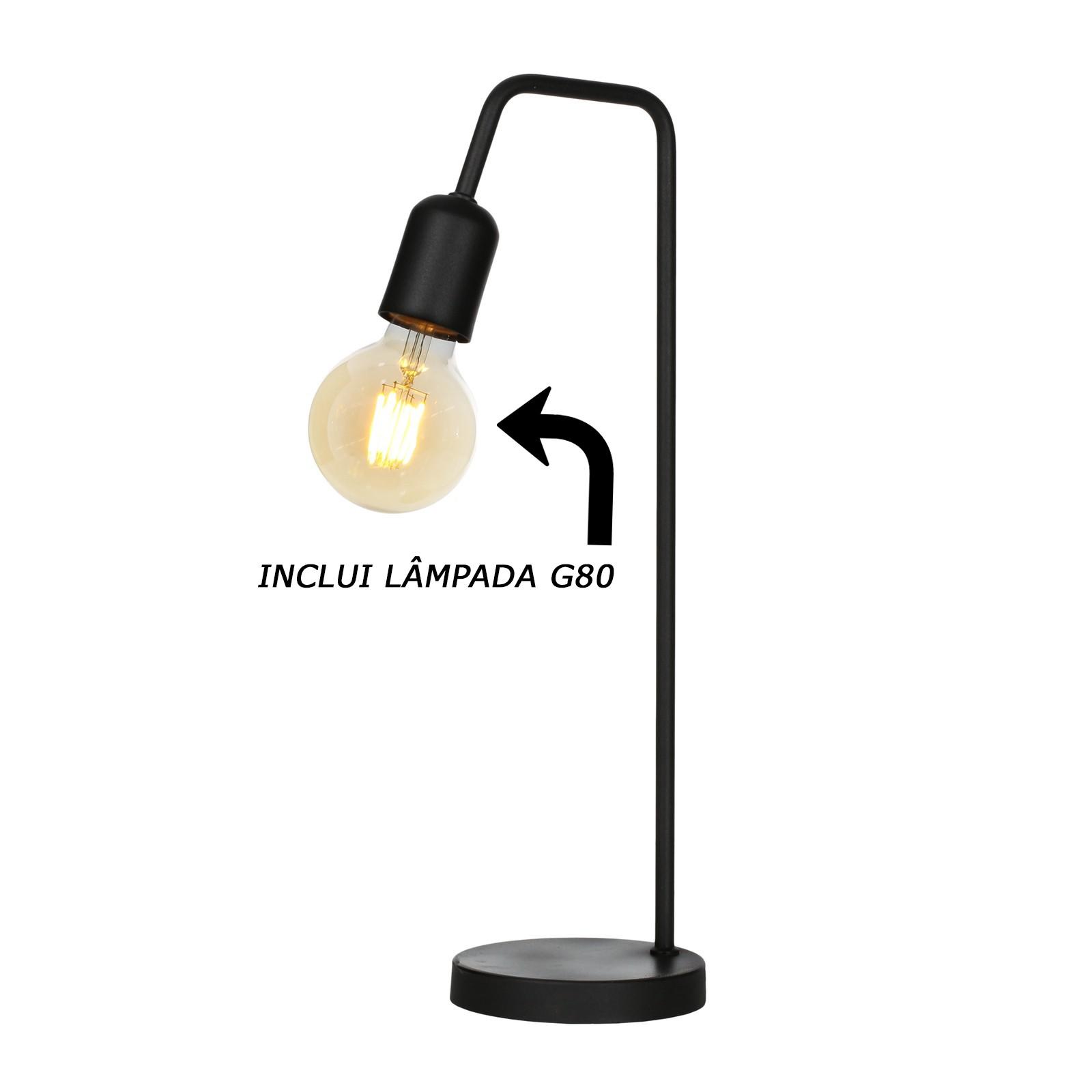 Luminária De Mesa Abajur Retrô Vintage + Lâmpada G80
