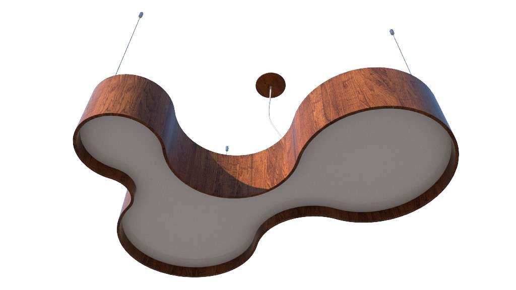 Pendente Lustre Madeira Semi Cilíndrico 120cm