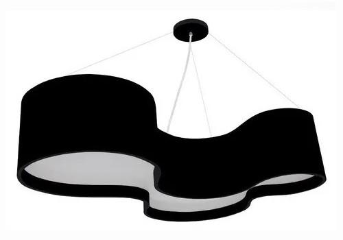 Pendente Lustre Madeira Semi Cilíndrico 80cm Preto Ou Branco