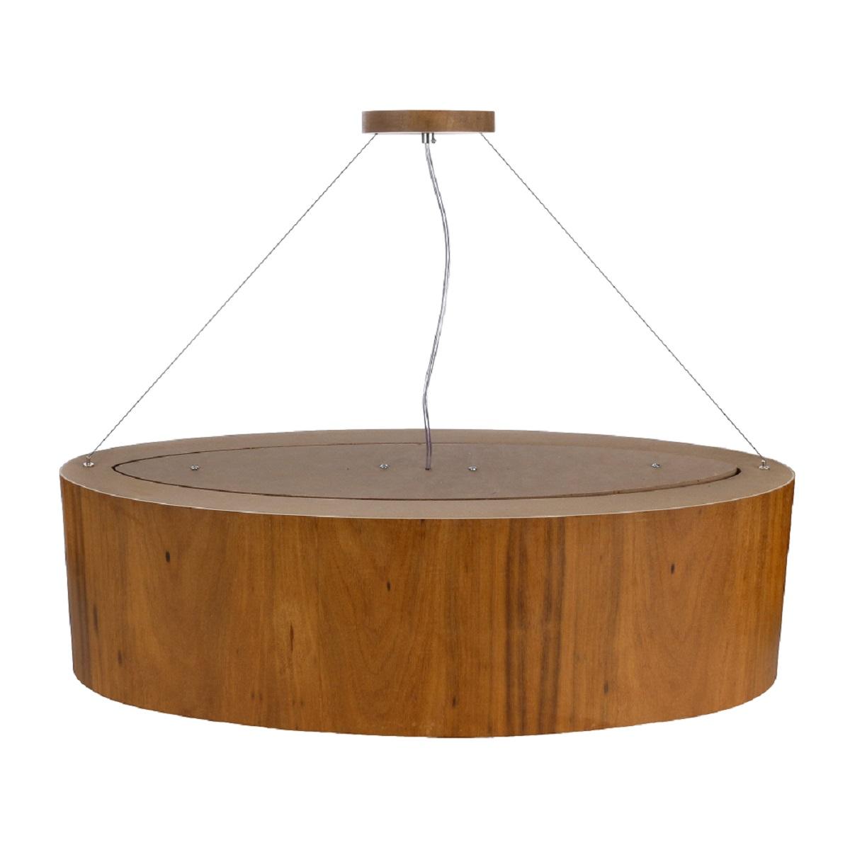 Pendente Lustre Oval Madeira 76cm