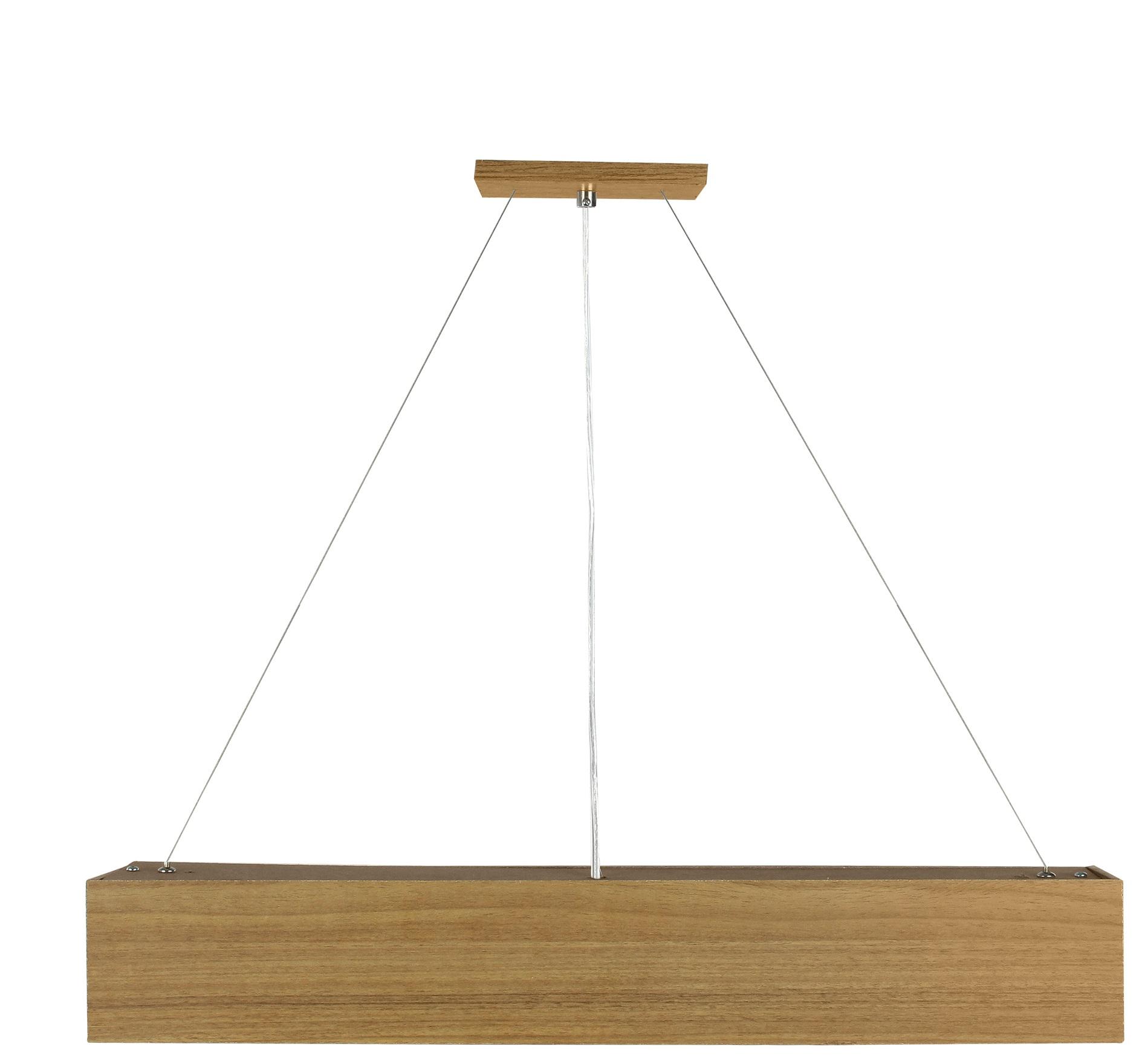 Pendente Wood Retângular 120x10cm - 01 luz G12