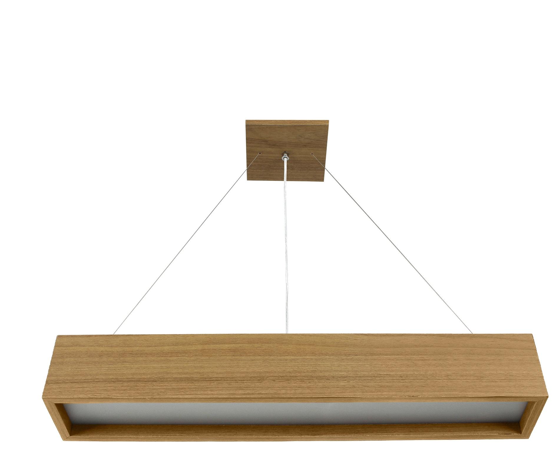 Pendente Madeira Wood Retângular 60x10cm- 1 ou 2 luzes G12