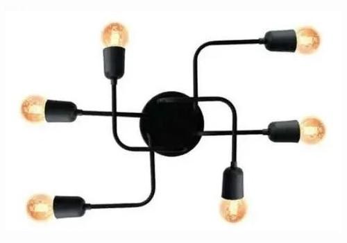 Plafon Aranha 6 Lâmpadas Charlô + Lâmpadas Filamento Led