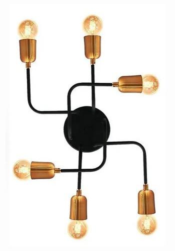 Plafon Aranha 6 Lâmpadas Preto Com Cobre + Lâmpadas Led