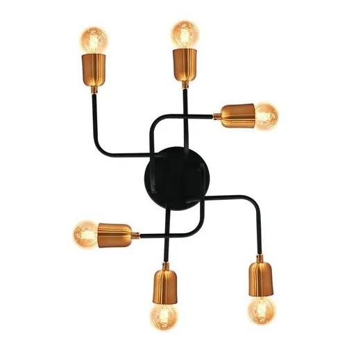 Plafon Aranha 6 Lâmpadas Preto Ou Cobre Com Lâmpadas Inclusa
