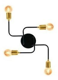 Plafon Lustre Aranha 4 Lâmpadas Preto Fosco Com Dourado
