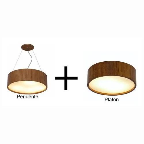 Plafon + Pendente De Madeira Redondo 40cm Imbuia