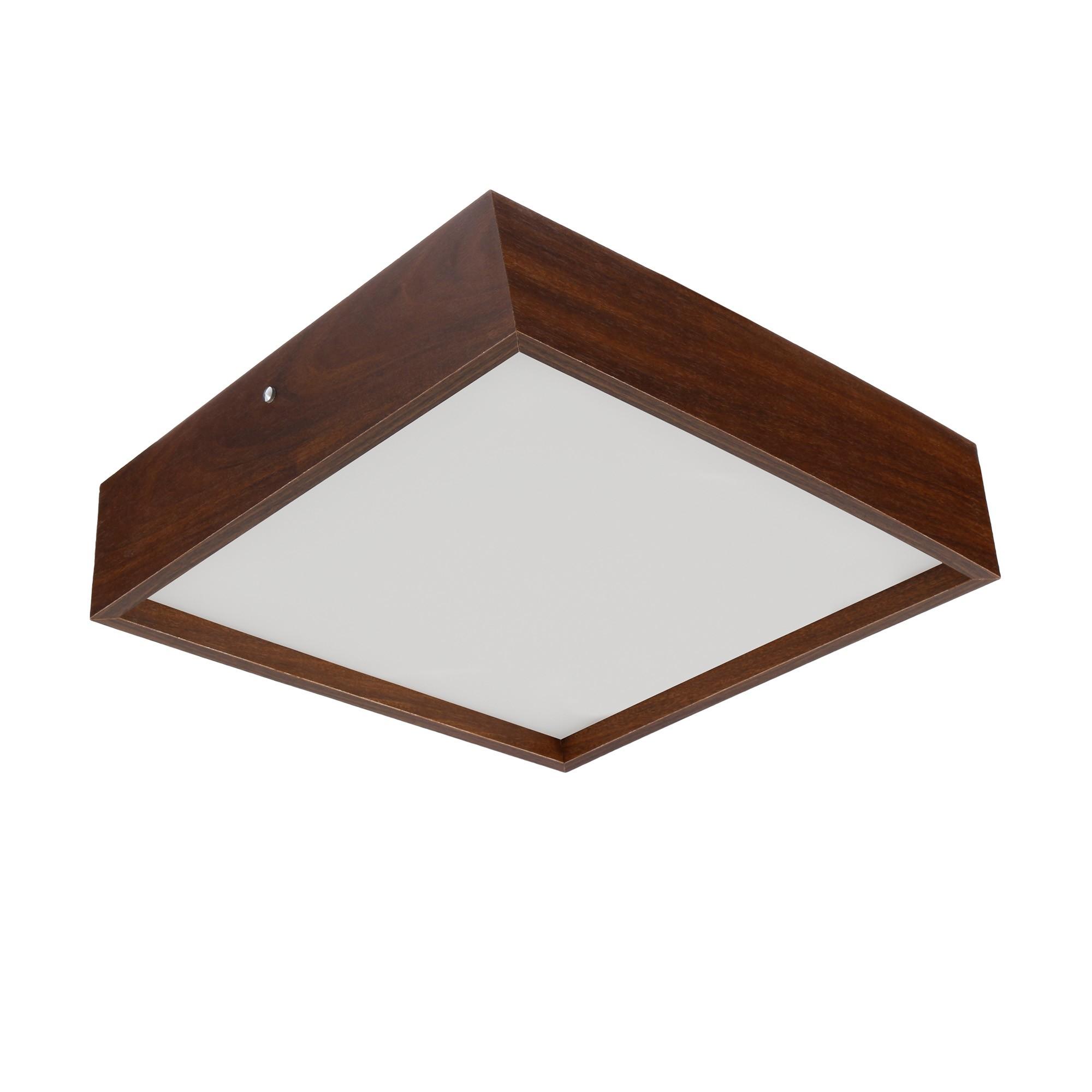 Plafon Quadrado Madeira 40x40cm 4 luzes